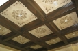 Dinning room ceiling. Decorative painting. Wood effect and stencil