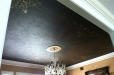 Faux finish dinning room  ceiling mural with metallic decorative design