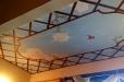 Ceiling. Blue sky and birds