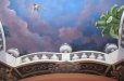 Media room ceiling mural. Balcony, foliage and blue sky 1