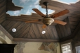 Master room ceiling mural. Broken wood and blue sky