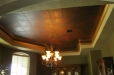 Formal dinning room ceiling mural. Faux finish with metallic stencil