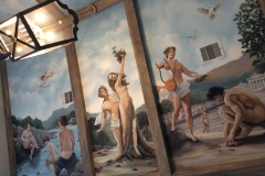 Greek mythology Apollo and Daphne  ceiling mural