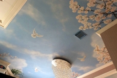 Ceiling 01 - Blue sky, flowers and doves