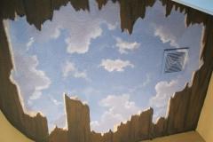 Guest bathroom ceiling mural, broken wood
