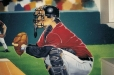 Kid's room mural, sports theme. Baseball catcher