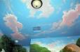 Children ceiling. Blue sky