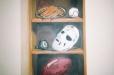 Sports shelf. Boy's room mural, Sports theme.