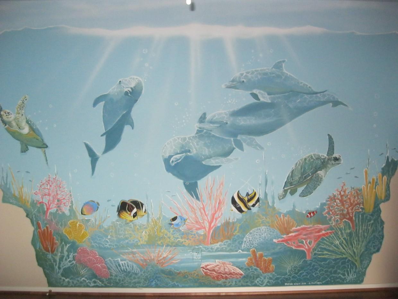 Children 39 s custom murals houston children 39 s room for Dolphin wall mural