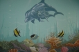 Dolphins. Child's room mural, underwater theme.