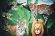 Wild cat's Safari. Child's room mural. Safari theme.