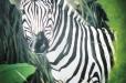 Zebra safari. Child's room mural. Wildlife mural