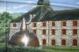 Outdoor mural of Irish brewery. Celtic gardens. Houston, Texas