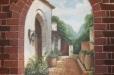 Faux brick, Mexican Hacienda Mural. Don Ramon's Fine Mexican Restaurant. Houston, TX