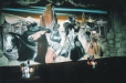 Western mural, Black Jack Bar and Grill Houston Texas. Robbers