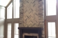 Hand painted fireplace brick and mantel