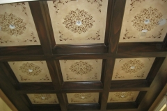 Hand painted Faux wood on Beams with Faux finish and stencil on Ceiling