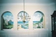 Dining room mural. Trompe l'Oeil windows and landscape