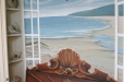 Trompe l'oeil sea shells on shelf and fuax headboard with seascape behind a Murphy bed