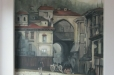 Formal living room niche mural. Old world theme