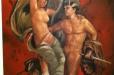 Pompeii inspired Mural in Guest bathroom