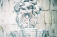 Angel. Living room mural. Trompe l'Oeil Roman fountain
