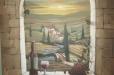 Wine room mural. Trompe l'Oeil. Tuscan landscape