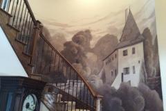Chateau mural in sepia