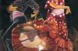Flamenco dance. Oil-painting